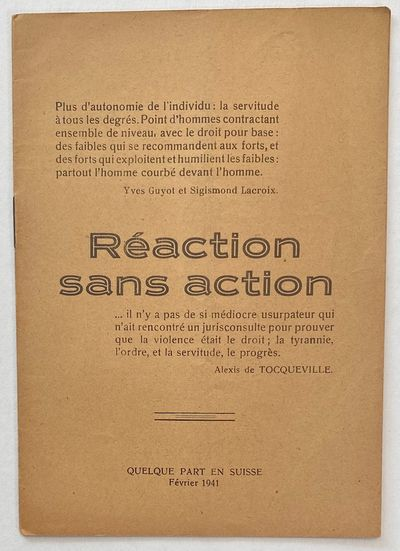 : , 1941. 16p., staplebound booklet, pages toned, vertical crease. Contents in French and Italian.