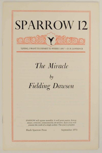 Los Angeles, CA: Black Sparrow Press, 1973. First edition. Softcover. A short story published as Spa...