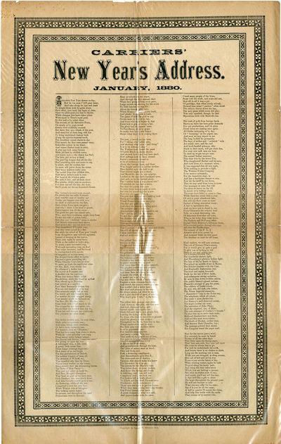 , 1879. Folio broadsheet. Approx. 79 x 43cm. Decorative border. Folded, with a few short, clean brea...