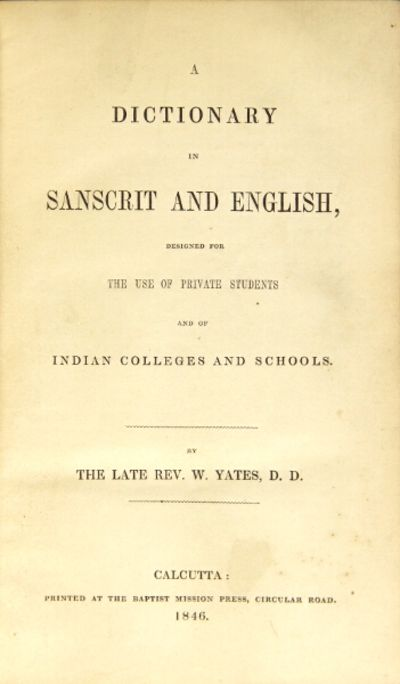Calcutta: Baptist Mission Press, 1846. First edition, thick 8vo, pp. iv, 928; text in double column;...