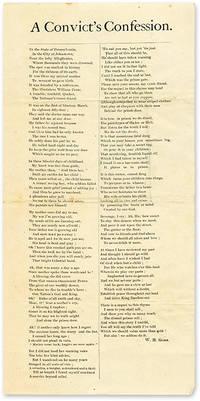 "A Convict's Confession, 12-1/4"" x 6"" broadside, Johnstown, PA, c1880"