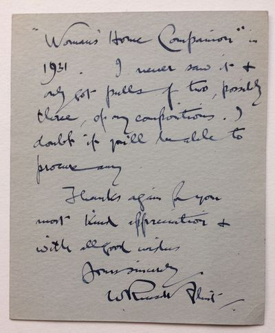 1951. unbound. very good(+). A.L.S., 12 mo. 2 pages, on his personalized card, Peel Cottage, March 1...