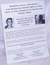 image of Memorial rally and march, Las Vegas on August 29th at 5pm, meet at the corner of Flamingo and Torrey Pines.  remember Dan and Spit, anti-racist skinheads mudered [sic] July 4th 1998 in Las Vegas