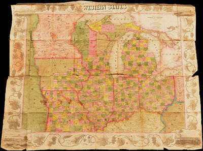 This folded Gold Rush Era pocket map measures 26¾