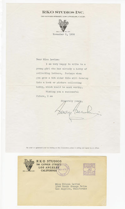 Gershwin George George Gershwin Lovely Typed Letter to a Young Collector  Single page typed letter...