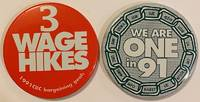 image of [Two pinback buttons from the Coordinated Bargaining Committee]