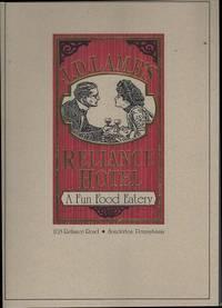 VINTAGE MENU FOR J. D. LAMB'S RELIANCE HOTEL, SOUDERTON,PENNSYLVANIA