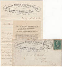 Thank-you grouping consisting of a Female Guardian Society advertising cover, a two-page letter written on the organization's stationery, and a religious tract
