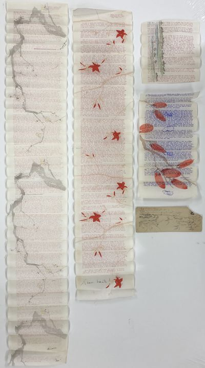 Good. Lot of 4 typed letters on Japanese rice paper each with a different color design and one envel...