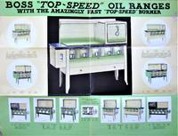 """image of Boss """"Top-Speed"""" Oil Ranges. With the Amazingly Fast """"Top-Speed"""" Burner. Large Fold Out Advertising Brochure"""