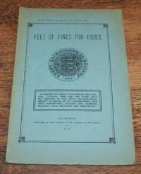 image of Essex Archaeological Society. Part XXIV (being Part VI of Volume III). 1935. Feet of Fines for Essex 1375-1388