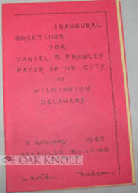 (Wilmington: Delaware Poetry Center), 1985. stiff paper wrappers. small 8vo. stiff paper wrappers. (...