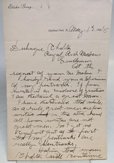 Highland Park, 1898. fine. Scarce A.L.S. 8vo. 2 pages, personal letterhead, Highland Park, Illinois,...