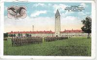 image of WWI Era Soldiers Drilling at Ft. Sheridan, Illinois on White Border Postcard ca 1918