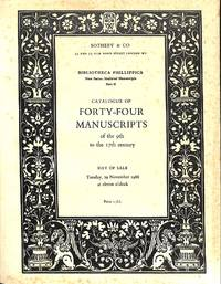 Bibliotheca Phillippica, New Series : Medieval manuscripts: Part 2: 44  Manuscripts of the 9th to the 16th Century (Sale Sotheby & Co.(London)  29th November 1966)
