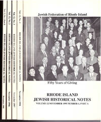 Rhode Island Jewish Historical Society NOTES 1995-1998 Vol 12 1-4 Complete by J Cohen, L Moss [Ed.]