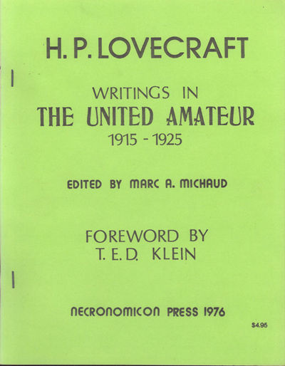 : Necronomicon Press, 1976. Large octavo, offset, printed wrappers, stapled. First edition. Limited ...