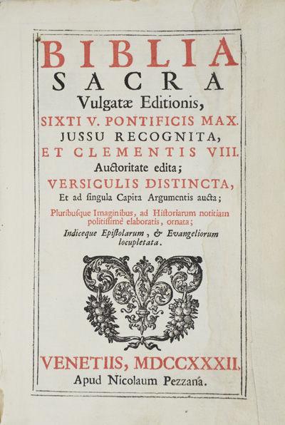 Venetiis: Apud Nicolaum Pezzana, 1732. Hardcover. g. 8vo. 964 pp. Contemporary vellum. Raised bands....