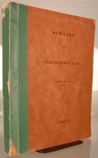 Summary of California Law. Second Edition. Volume II [only] [of two volumes]