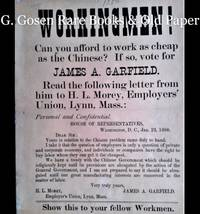 image of WORKINGMEN! Can you afford to work as cheap as the Chinese? If so, vote for JAMES A. GARFIELD.