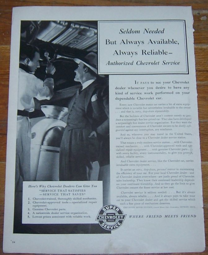1941 AUTHORIZED CHEVROLET SERVICE LIFE MAGAZINE ADVERTISMENT, Advertisement