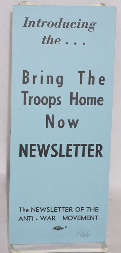 Cambridge, MA: The Newsletter, 1966. Six-panel brochure on blue paper, very good. The Newsletter, es...