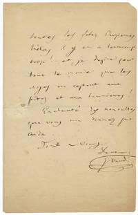 "Autograph letter signed ""G. Verdi"" to his accountant Luigi Peragallo"