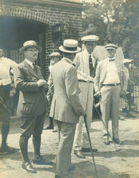 Photograph of Jim Barnes conversing with other golfers [with:] Photograph of two unidentified golfers