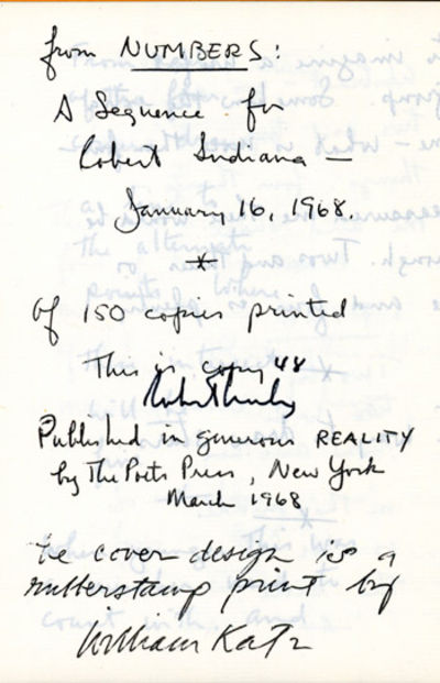 New York: The Poets Press, 1968. Decorated wrappers (by William Katz). First edition. One of 150 num...