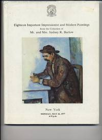 Eighteen Important Impressionist and Modern Paintings by Christies' New York - Paperback - 1977 - from Roberta Fountain (SKU: 2689)