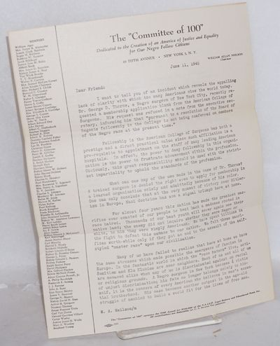 New York: the Committee, 1945. 2p. fundraising letter, 8,5x11 inches, folded twice for mailing, Elec...