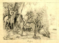 2 pencil drawings. starting for a Hunt with horseman jumping fence, etc & Escaped with two horsemen
