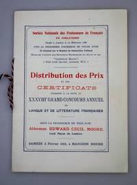 Distribution des Prix et des Certicates decernes a la suite du XXXVIII Grand Concours Annuel de Langue et de Litterature Francaises 3rd Fevrier 1923.