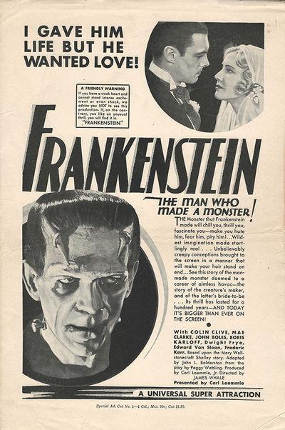 FRANKENSTEIN (1931) Original tear sheet