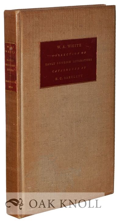 New York: Privately printed, 1926. polished cloth, leather cover and spine labels. White, W.A.. 8vo....