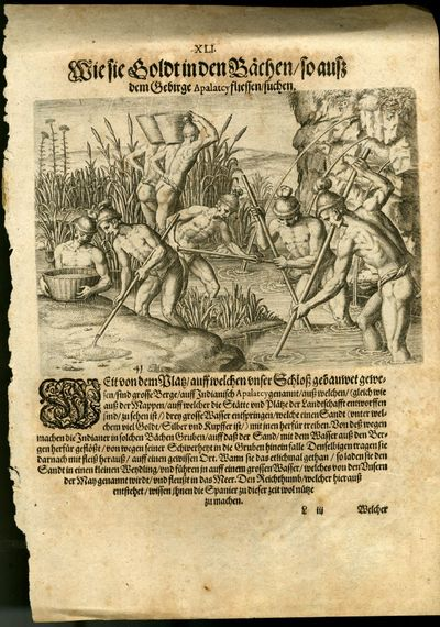 1591. Very Good Condition. A single sheet from an early German edition of Le Moyne, likely the first...