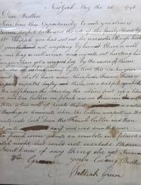 """LETTER TO HIS BROTHER WILLIAM E. GREEN, in Worcester, Massachusetts, concerning an incident between the """"aristocrats"""" and the """"democrats"""""""
