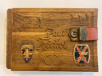 To Remembrance of Berlin (calligraphic title-page). Soldier's Personal Photo Album with hand-carved wooden covers, containing 65 photos documenting the lives of U.S. Army soldiers in post-WWII Berlin