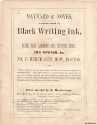 image of An Original 1853 Vintage Full Page Advertisement for Maynard and Noyes  Manufacturers of Writing Inks and S. H. Gregory and Company Dealers in  French and American Paper Hangings