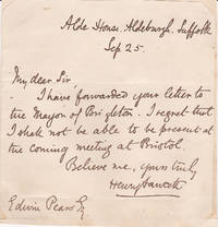 AUTOGRAPH LETTER SIGNED by HENRY FAWCETT expressing his regrets that he can't attend the meeting of the National Association for the Promotion of Social Science.