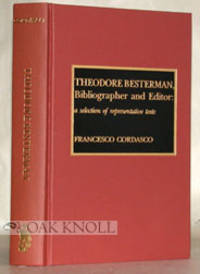 Metuchen: The Scarecrow Press, 1992. cloth. Besterman, Theodore. thick 8vo. cloth. xiv, 479, (3) pag...