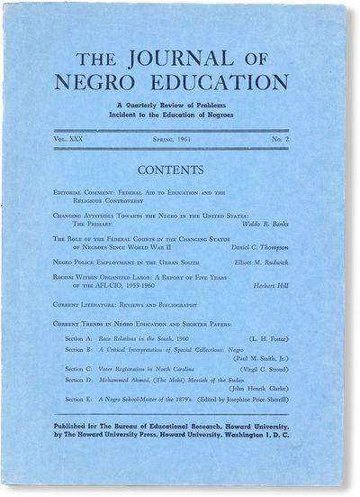 Washington DC: Bureau of Educational Research, Howard University, 1961. First Edition. Paperback. Co...