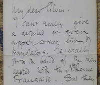 "Autograph Letter Signed to ""My dear [Sidney] Colvin,"" about André Gide"