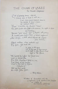 The Chain Of Lakes For Donald Carpenter (Hand-Calligraphed Broadside Poem)