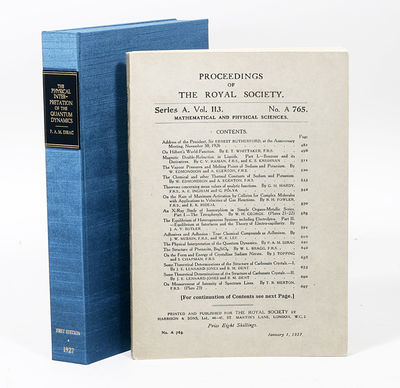 London: The Royal Society, 1927. First edition. original wrappers. Fine. FIRST EDITION IN ORIGINAL W...