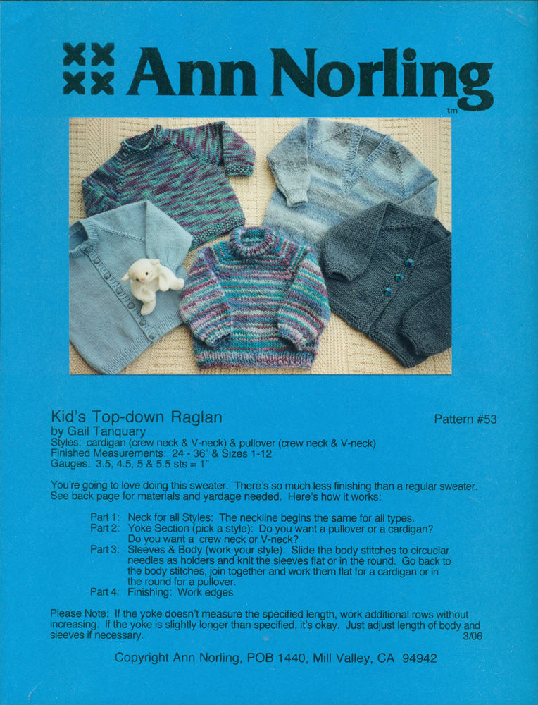 Ann Norling Kids Top Down Raglan Pattern 53 By Tanquary Gail