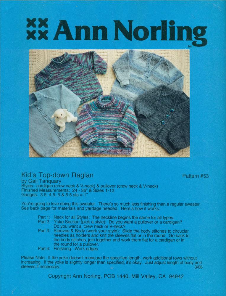 Ann Norling Kids Top Down Raglan Pattern 53 By Tanquary Gail