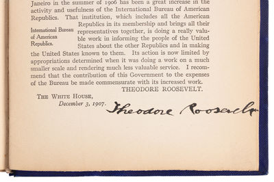 Washington DC: Government Printing Office, 1907 . First Edition. Hardcover. Near fine. SIGNED by Pre...