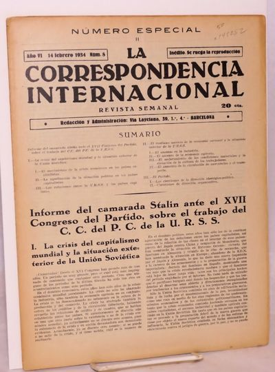 Barcelona: , 1934. 16p., 8.25x11.25 inch newspaper, wraps evenly browned else very good condition. '...