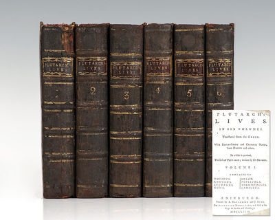 Edinburgh: A. Donaldson and J. Reid, 1763. Rare 18th century printing of Plutarch's Lives. Octavos, ...